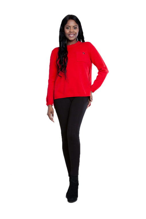 red grommet detail knit top- front