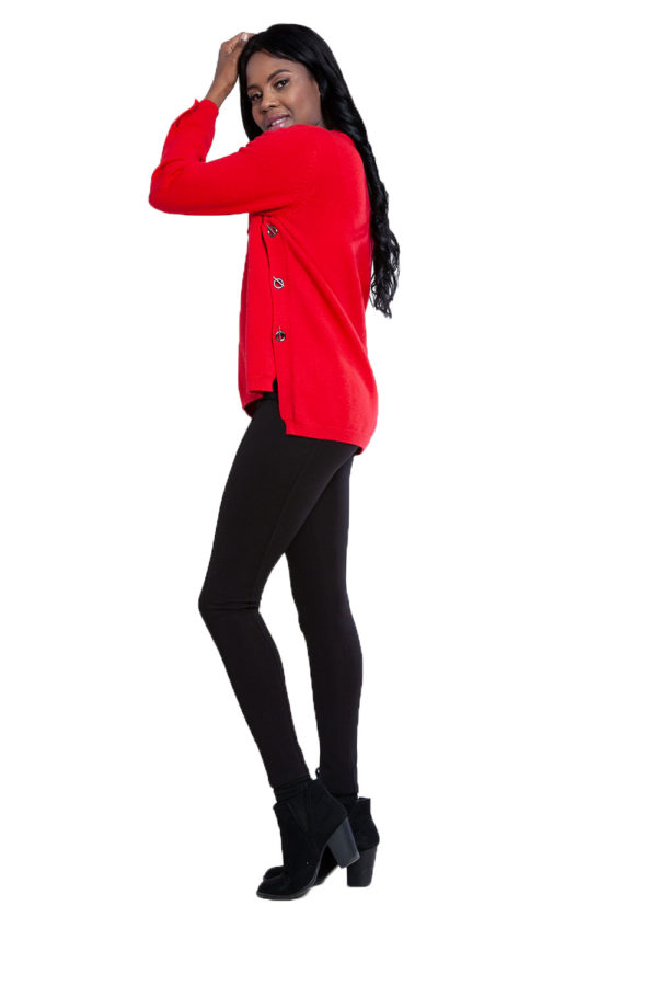 grommet detail knit red top- side