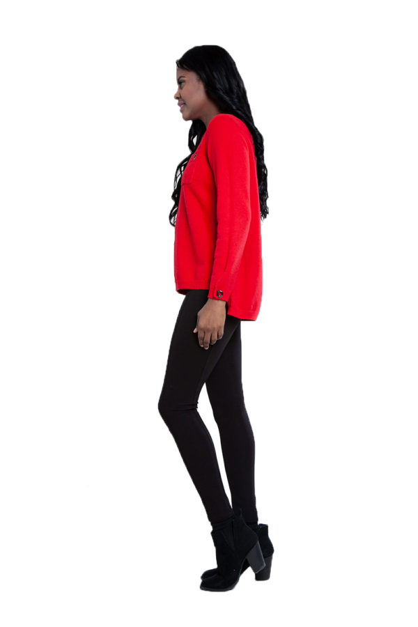 red grommet detail knit top- side