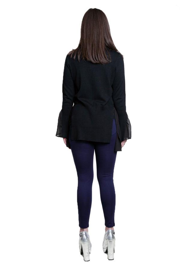 black knit twofer top- back