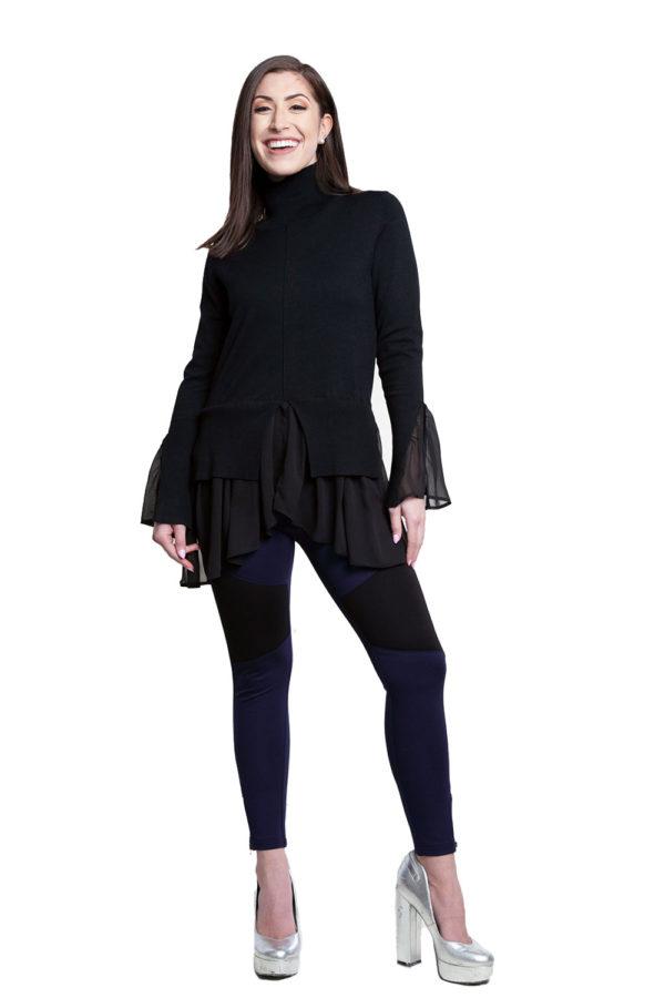 black knit twofer top- front