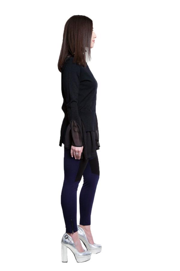 black knit twofer top- side