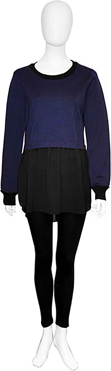 navy twofer chiffon back top- front