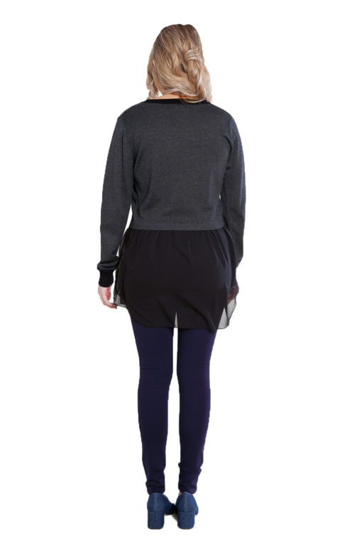 charcoal grey knit and chiffon twofer top- back
