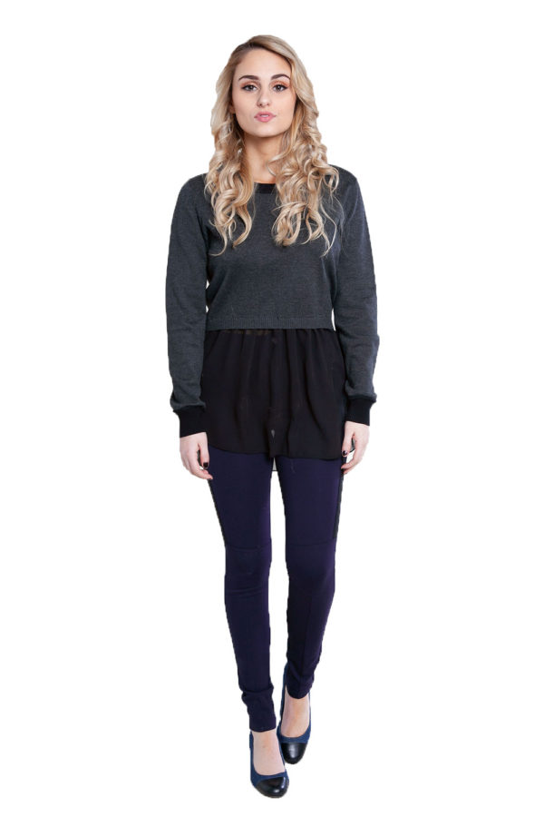 charcoal grey knit and chiffon twofer top- front