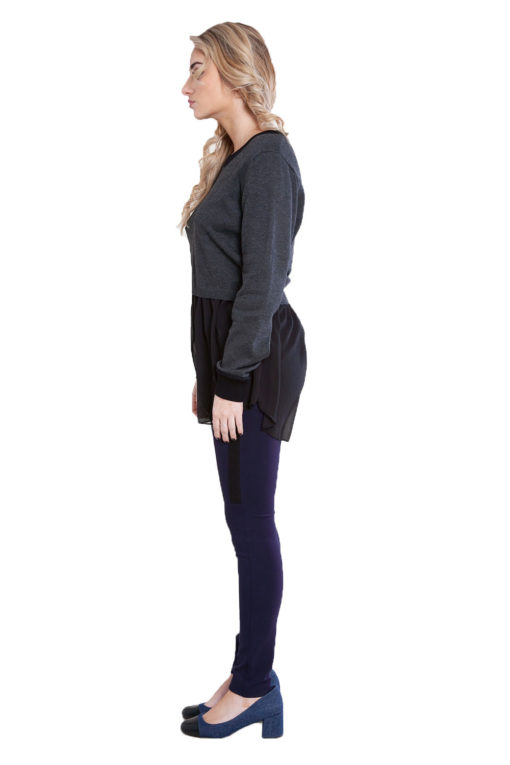 charcoal grey knit and chiffon twofer top- side