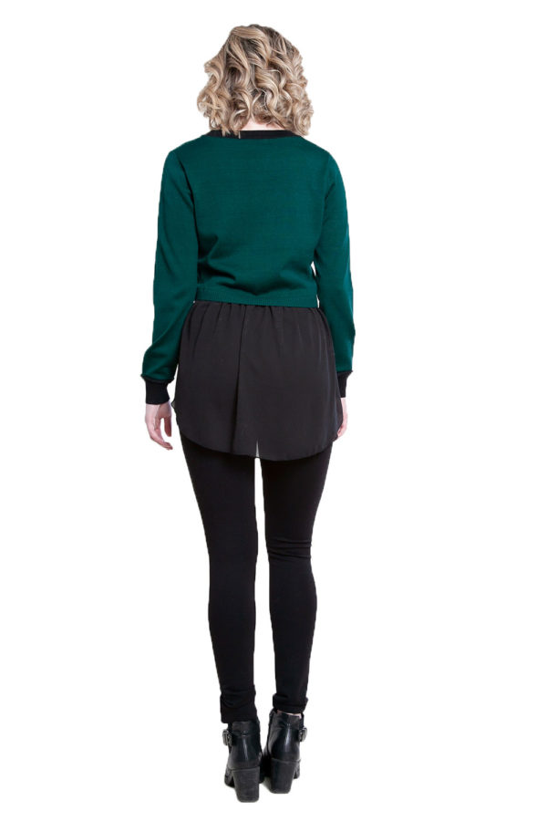 hunter green knit and chiffon twofer top- back