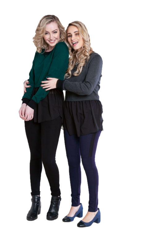 charcoal grey and hunter green knit and chiffon twofer top- front