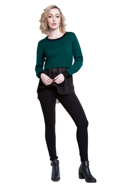 hunter green knit and chiffon twofer top- front