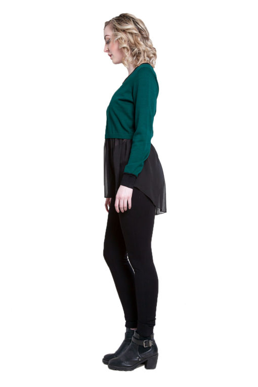 hunter green knit and chiffon twofer top- side