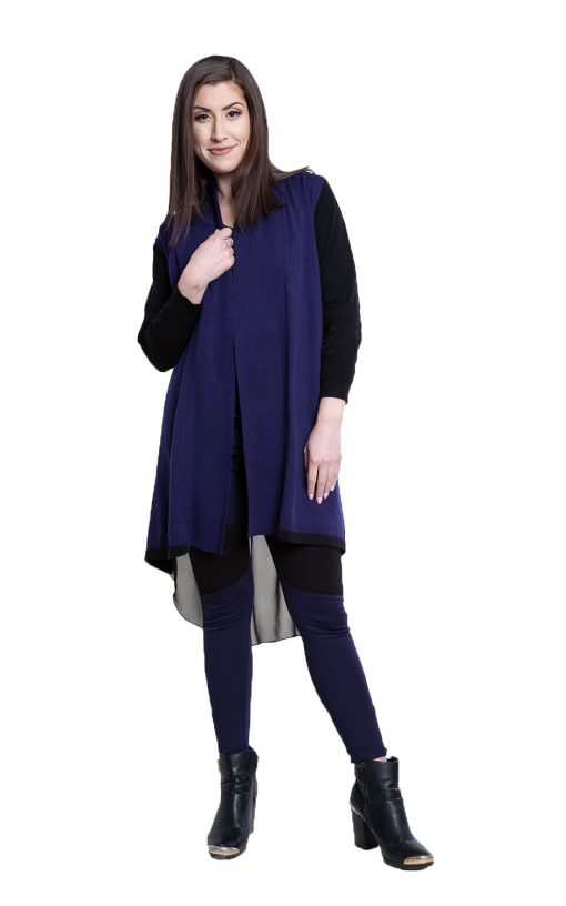 navy and black chiffon back cardigan- front