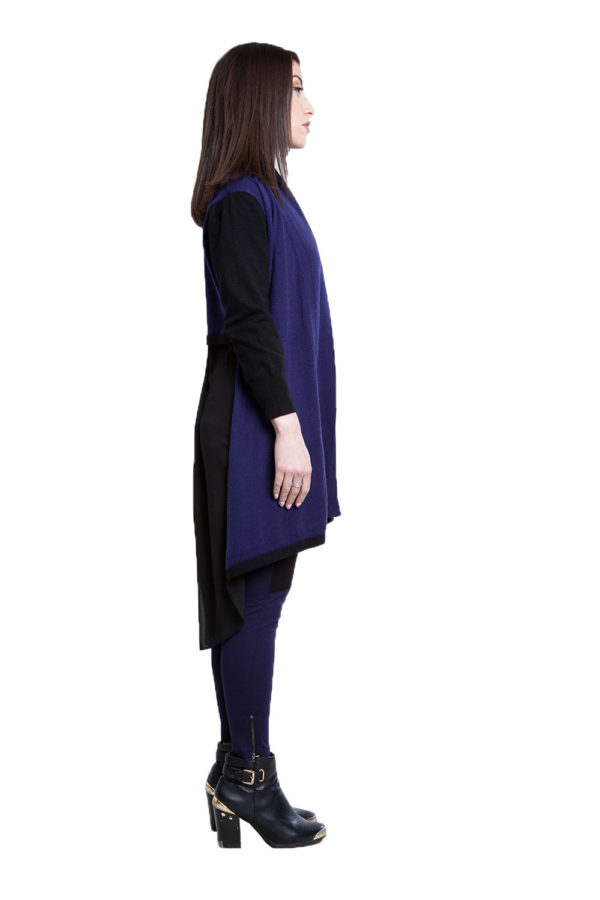 navy and black chiffon back cardigan- side
