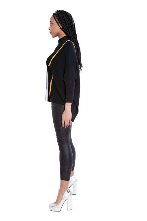 black striped oversized sweater- side