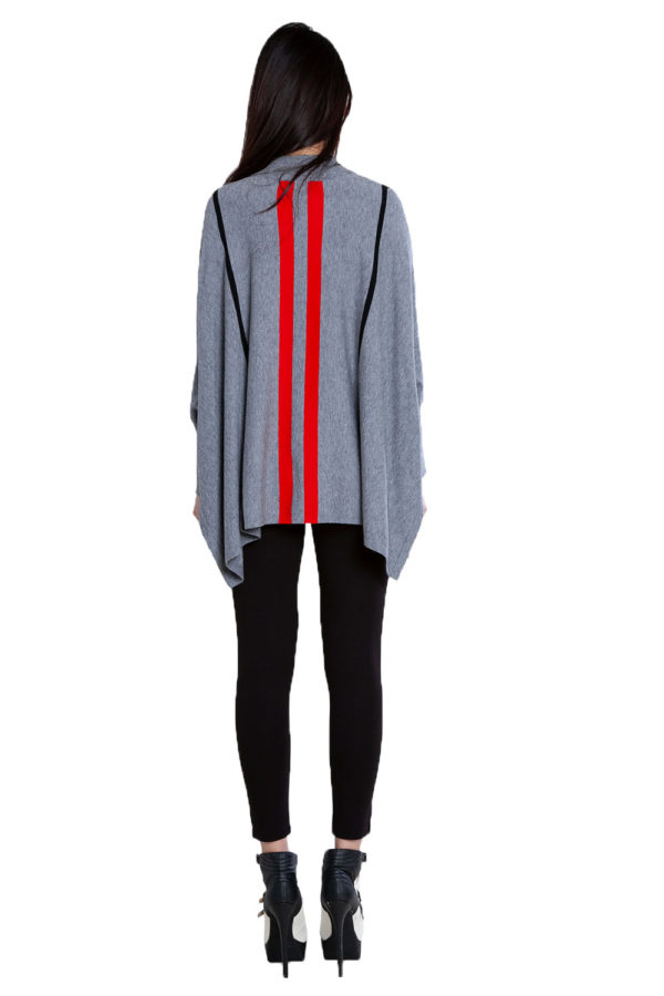 grey striped oversized sweater- back