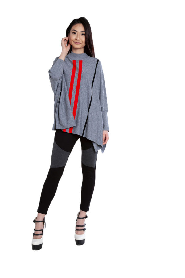 grey striped oversized sweater- front