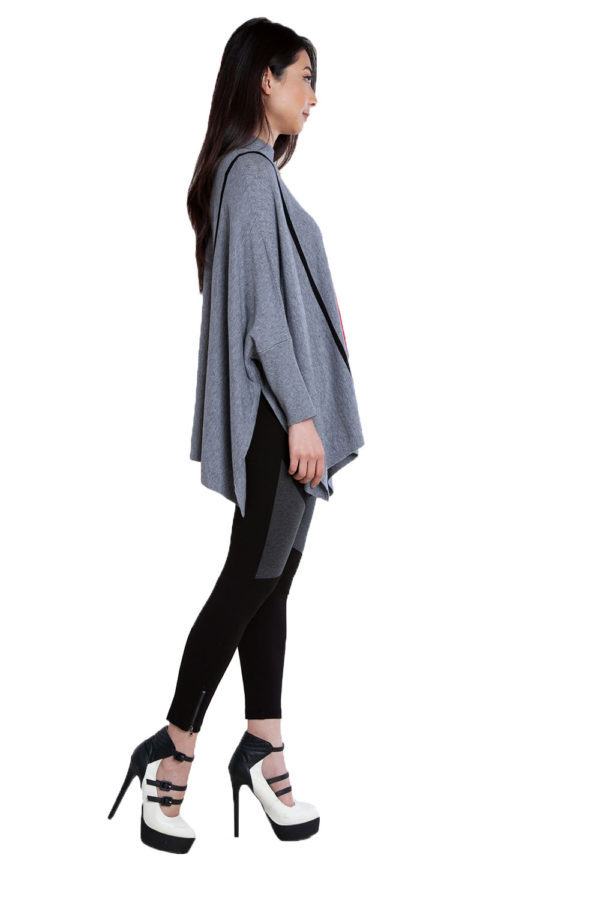 grey striped oversized sweater- side