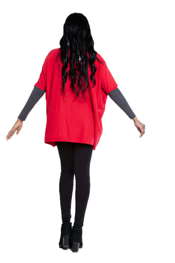 red and charcoal knit top- back