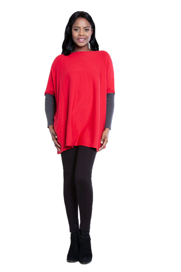 red and charcoal knit top- front