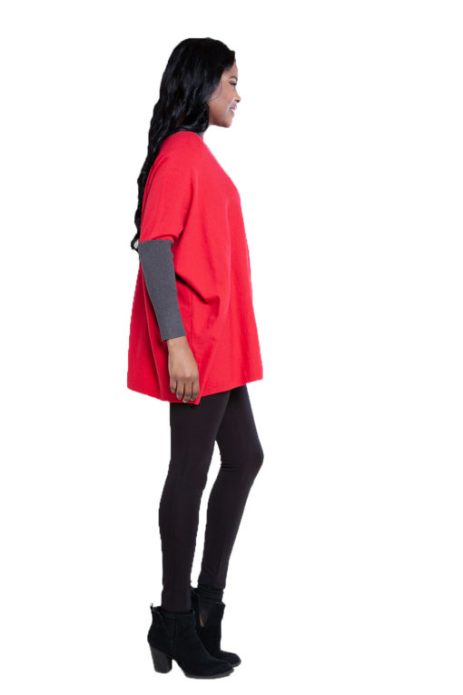 red and charcoal knit top- side