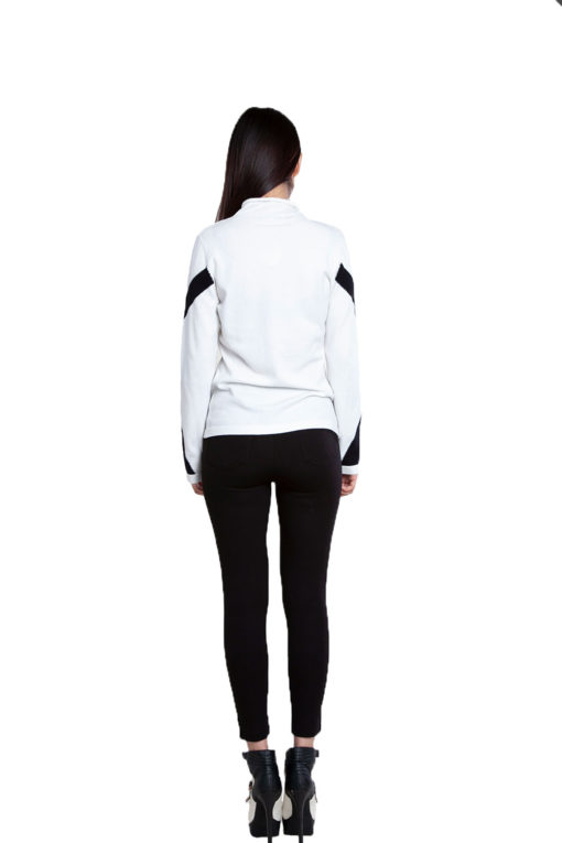white and black sweater- back