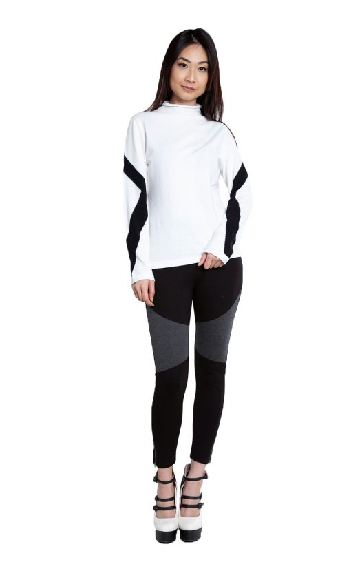 white and black sweater- front