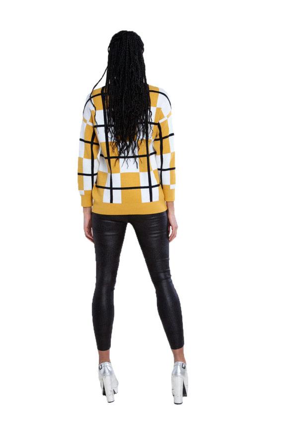 yellow plaid sweater- back