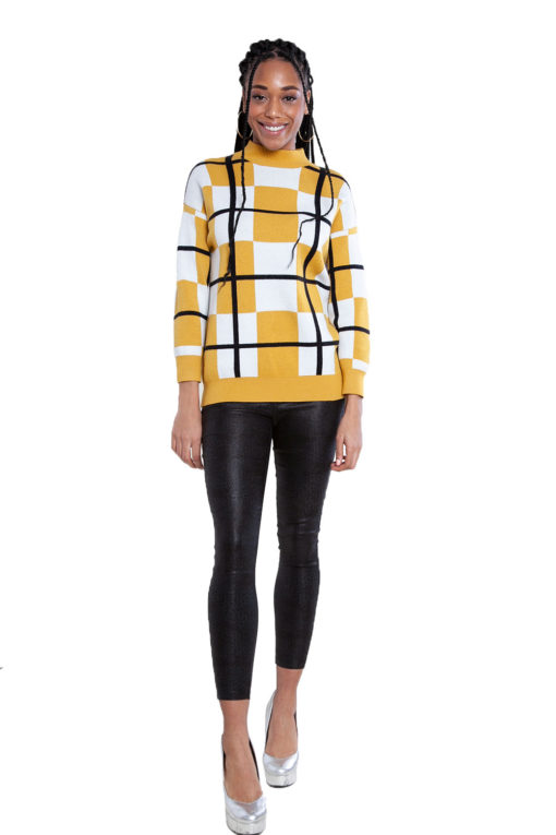 yellow plaid sweater- front