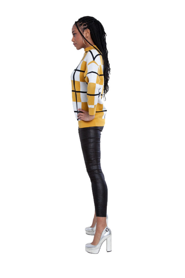yellow plaid sweater- side