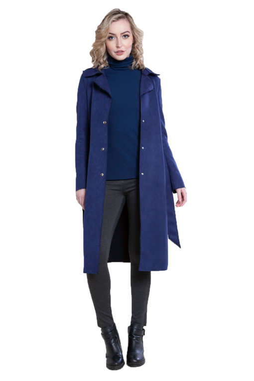 blue faux suede jacket- front