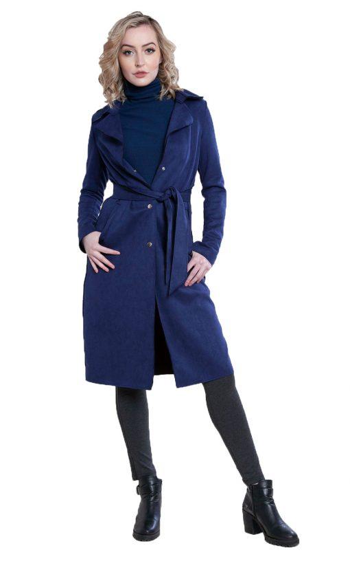 blue faux suede jacket- front