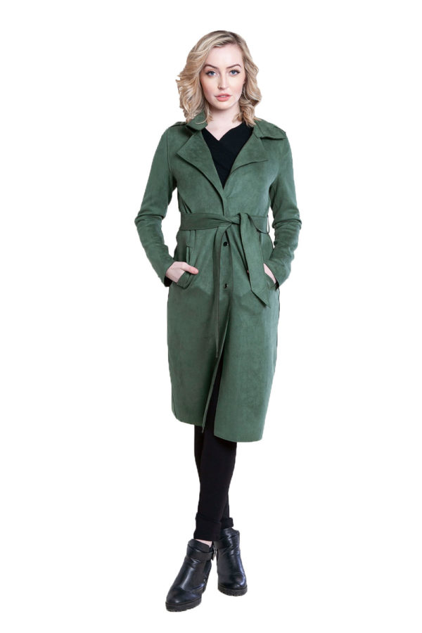 green faux suede jacket- front