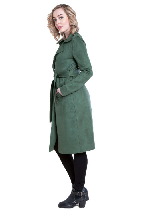 green faux suede jacket- side