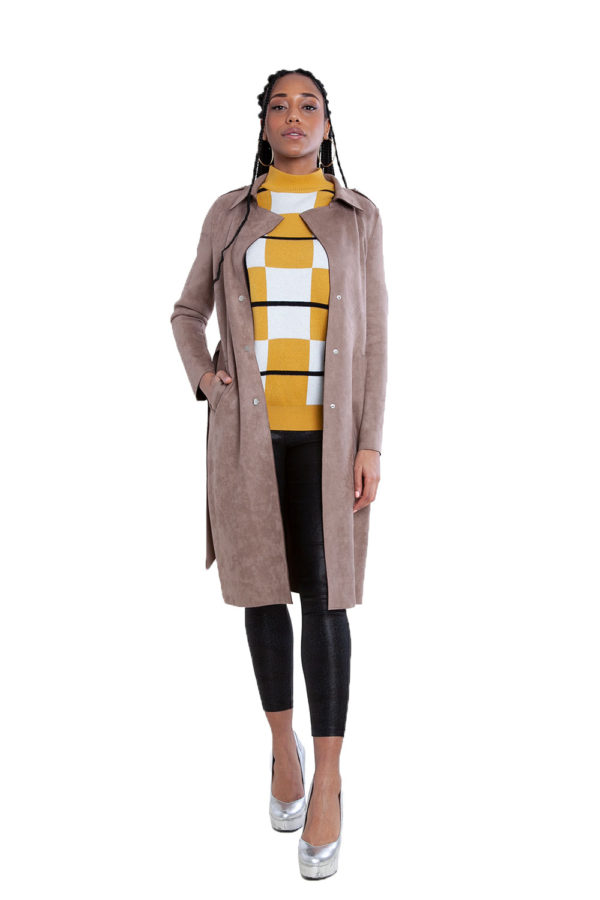 taupe faux suede jacket- front