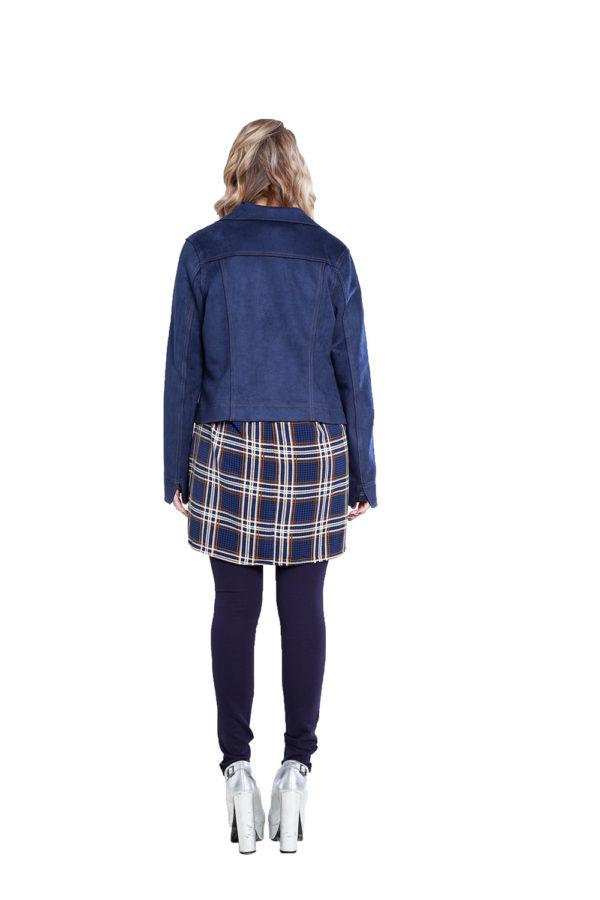 short faux suede blue jacket- back