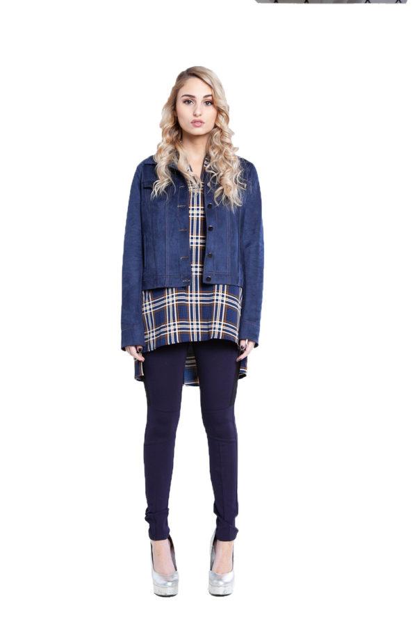 short faux suede blue jacket- front