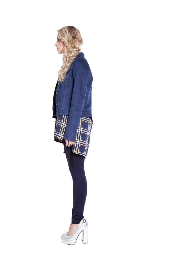 short faux suede blue jacket- side