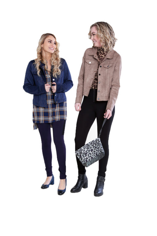 short faux suede blue and taupe jackets- front