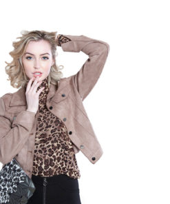short faux suede taupe jacket- front
