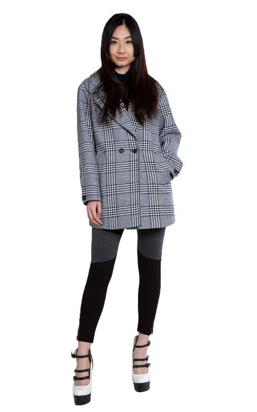grey plaid oversized blazer- front