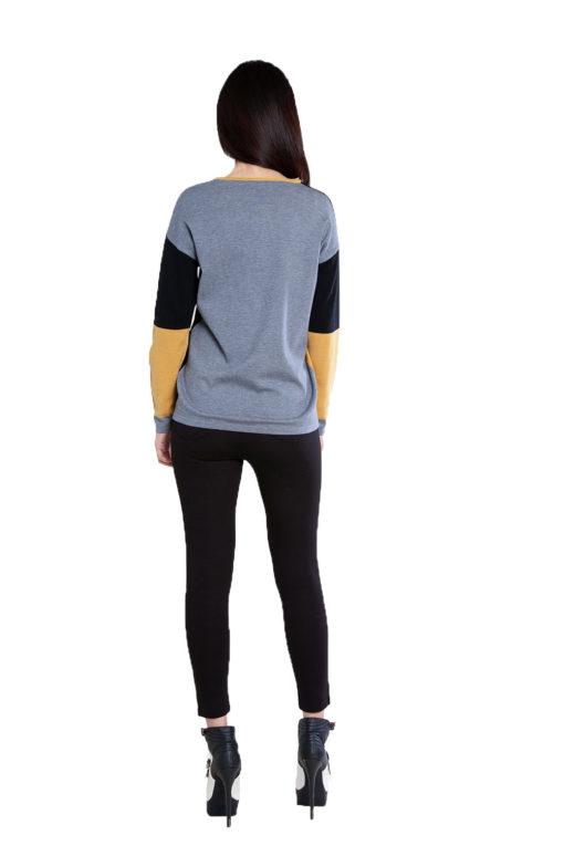 black patchwork knit top- back