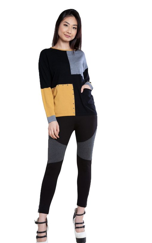 black patchwork knit top- front