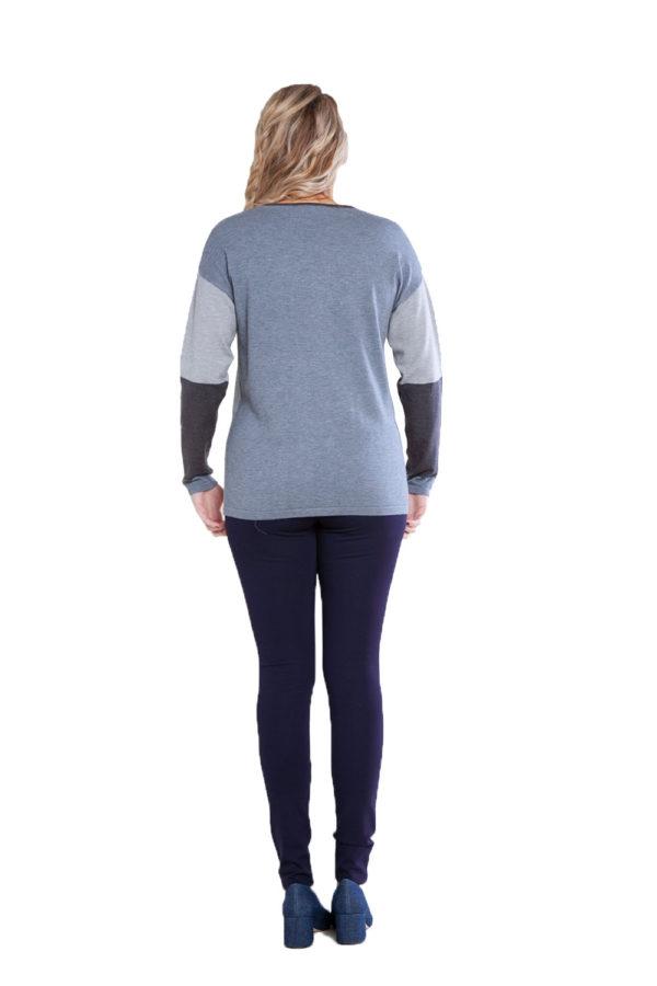 grey patchwork knit top- back