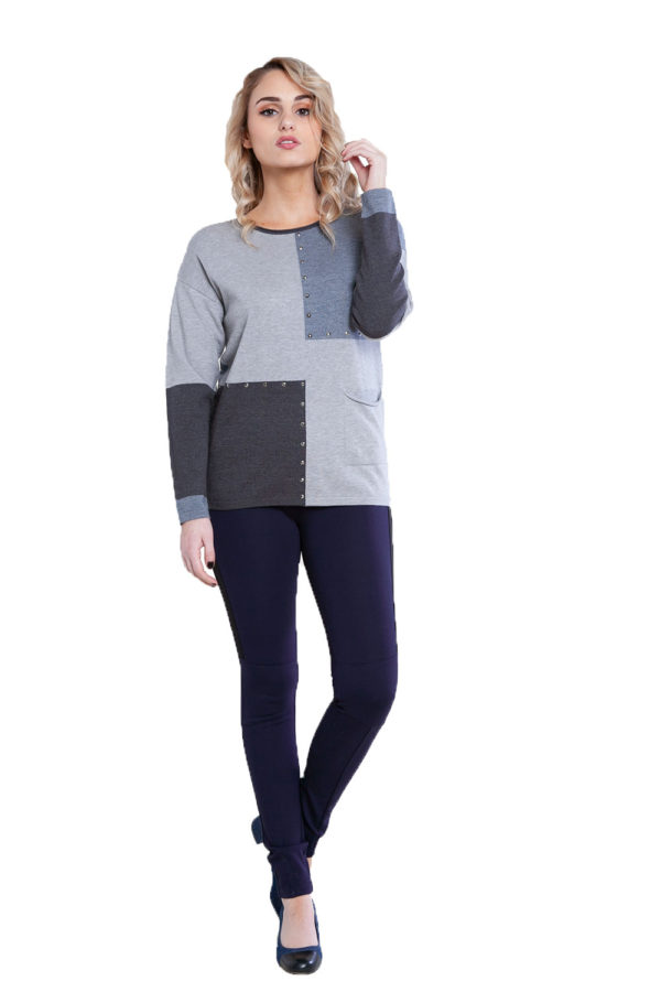 grey patchwork knit top- front