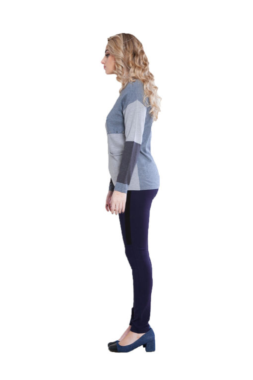 grey patchwork knit top- side