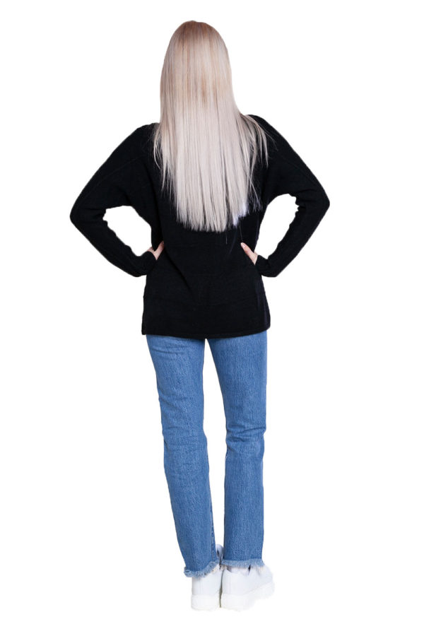 black knit butterfly sweater- back