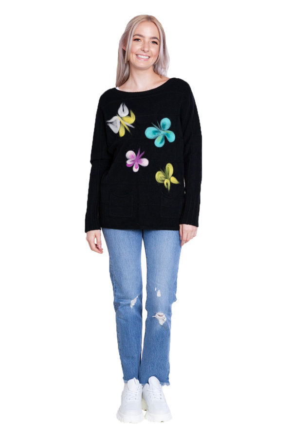 black knit butterfly sweater- front