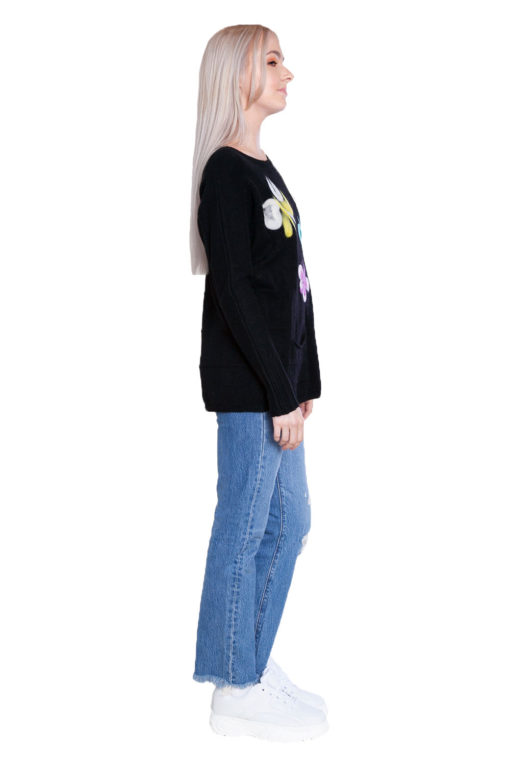black knit butterfly sweater- side