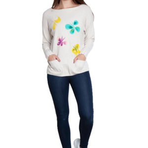 taupe knit butterfly sweater- front