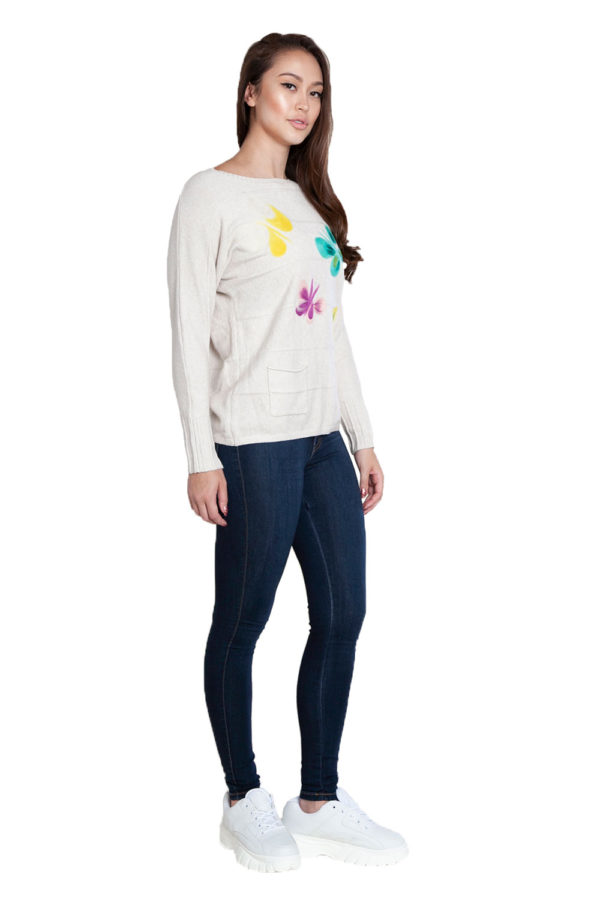 taupe knit butterfly sweater- side