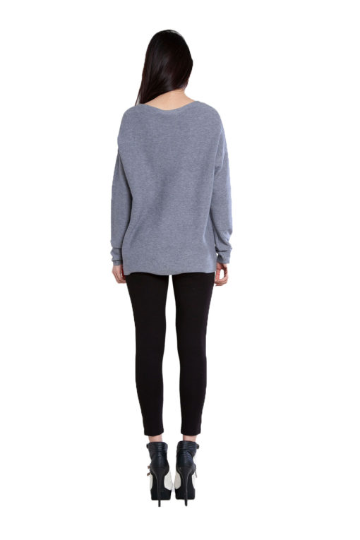 grey knit cut out sweater- back
